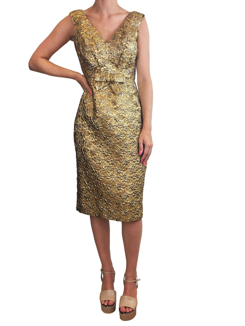 Prada Gold Floral Dress Size 14 RRP £1250