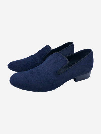 Navy pony hair loafers - size EU 39