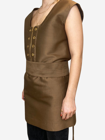 Oversized gold tunic with eyelet and belt - size IT 40