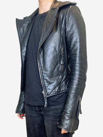 Black cropped leather biker jacket - size FR 34