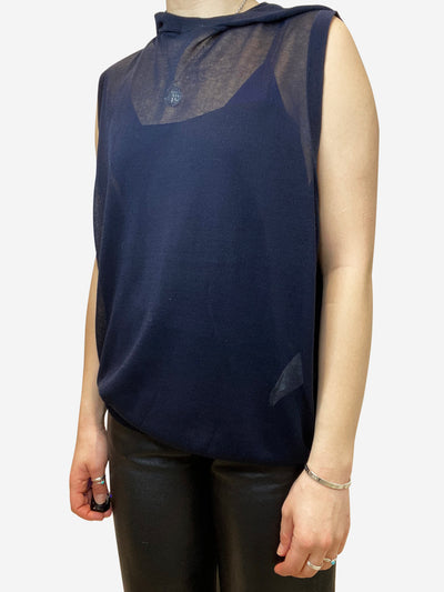 Navy fine knit silk hooded sleeveless top- size UK 8