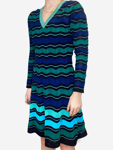 Green and blue striped knee-length dress - size S