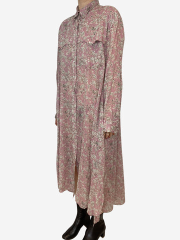 Pink western floral shirt maxi dress - size FR 38