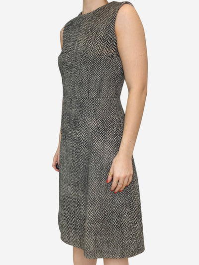 Grey & black sleeveless tweed wool dress - size IT 40