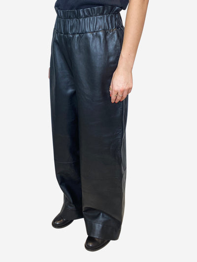 Black paperbag waist leather trousers - size L