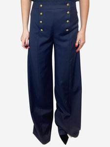 JW Anderson Navy & gold wide leg trousers - size UK 10