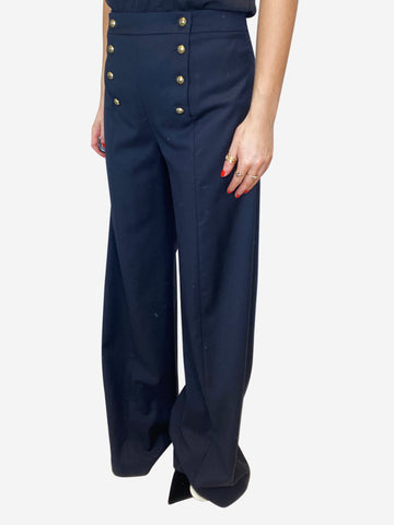 Navy wide leg gold button front trousers - size UK 10