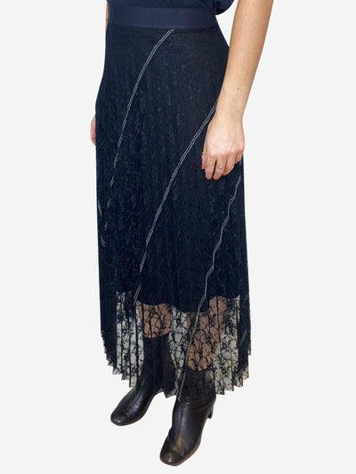 Black lace insert pleated midi skirt - size S