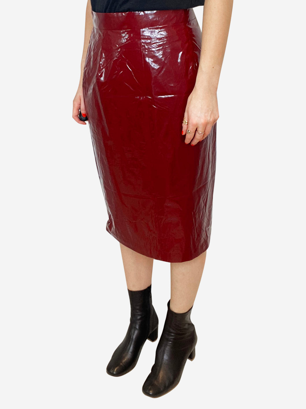 Dark red PVC effect pencil skirt - size IT 44