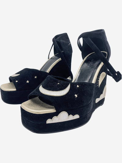 Black wedges moon and sun  - size 6