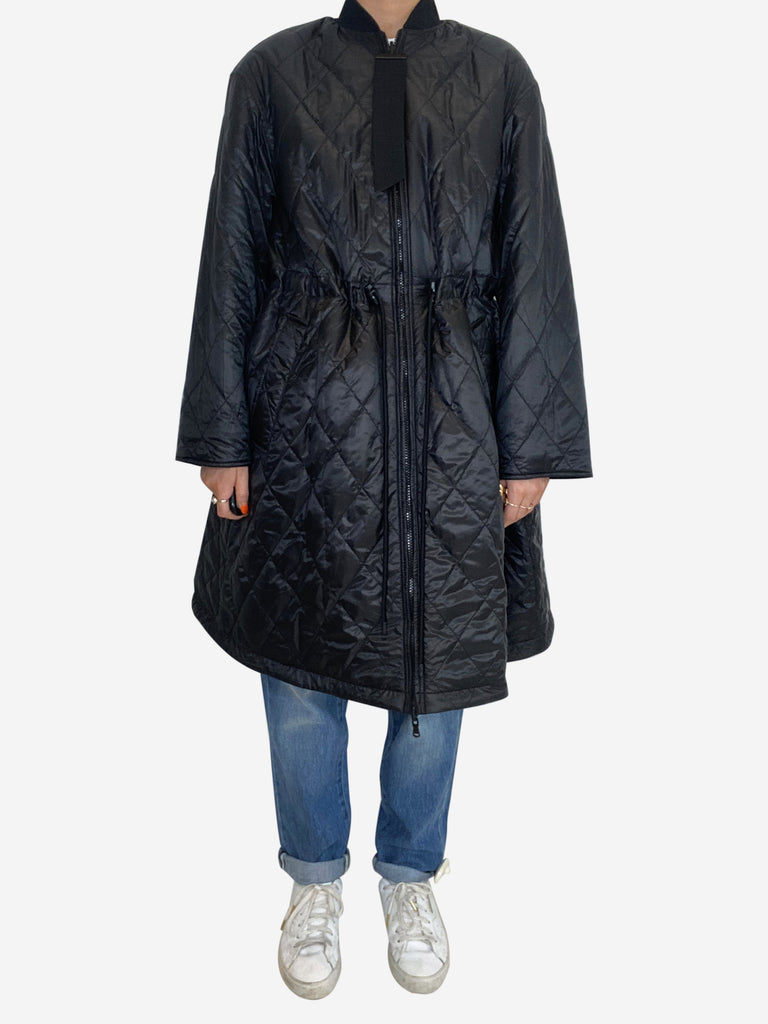 Black polyester quilted zip up coat - size M