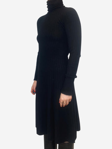 Black roll neck cashmere dress - size S