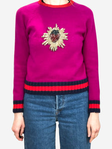Gucci Purple strawberry embellished sweater - size S