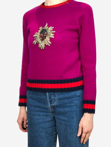 Purple strawberry embellished sweater - size S