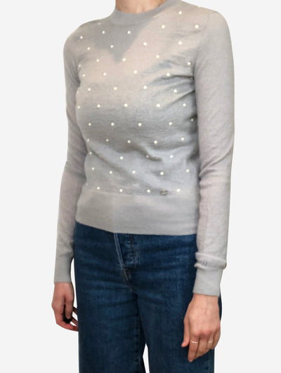 Grey Mohair & cashmere pearl jumper - size 8