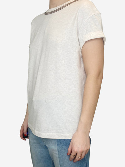 Pale grey bronze monili trim t-shirt - size S