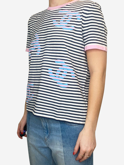 Pink, navy & white fine knit striped logo t-shirt - size FR 40