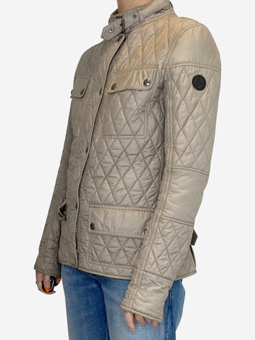 Beige quilted jacket - size 12