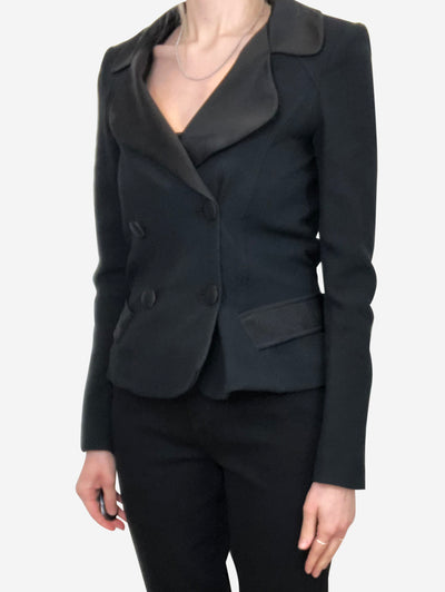 Black cinched waist blazer with satin details - size FR 36