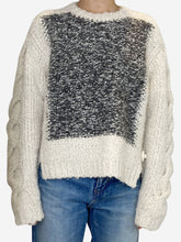 Load image into Gallery viewer, Grey and cream thick wool sweater - size FR 36