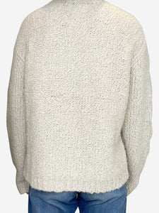 Grey and cream thick wool sweater - size FR 36