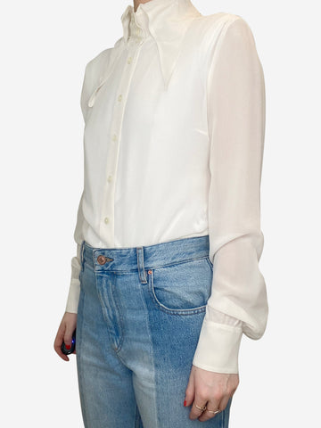 Cream sheer pointed collar shirt - size FR 38