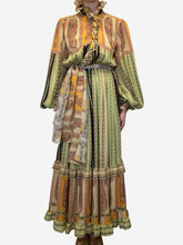 Load image into Gallery viewer, Orange paisley belted maxi dress - size IT 44