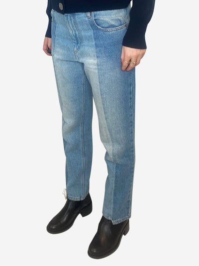 Blue straight leg contrast panel jeans - size FR 38
