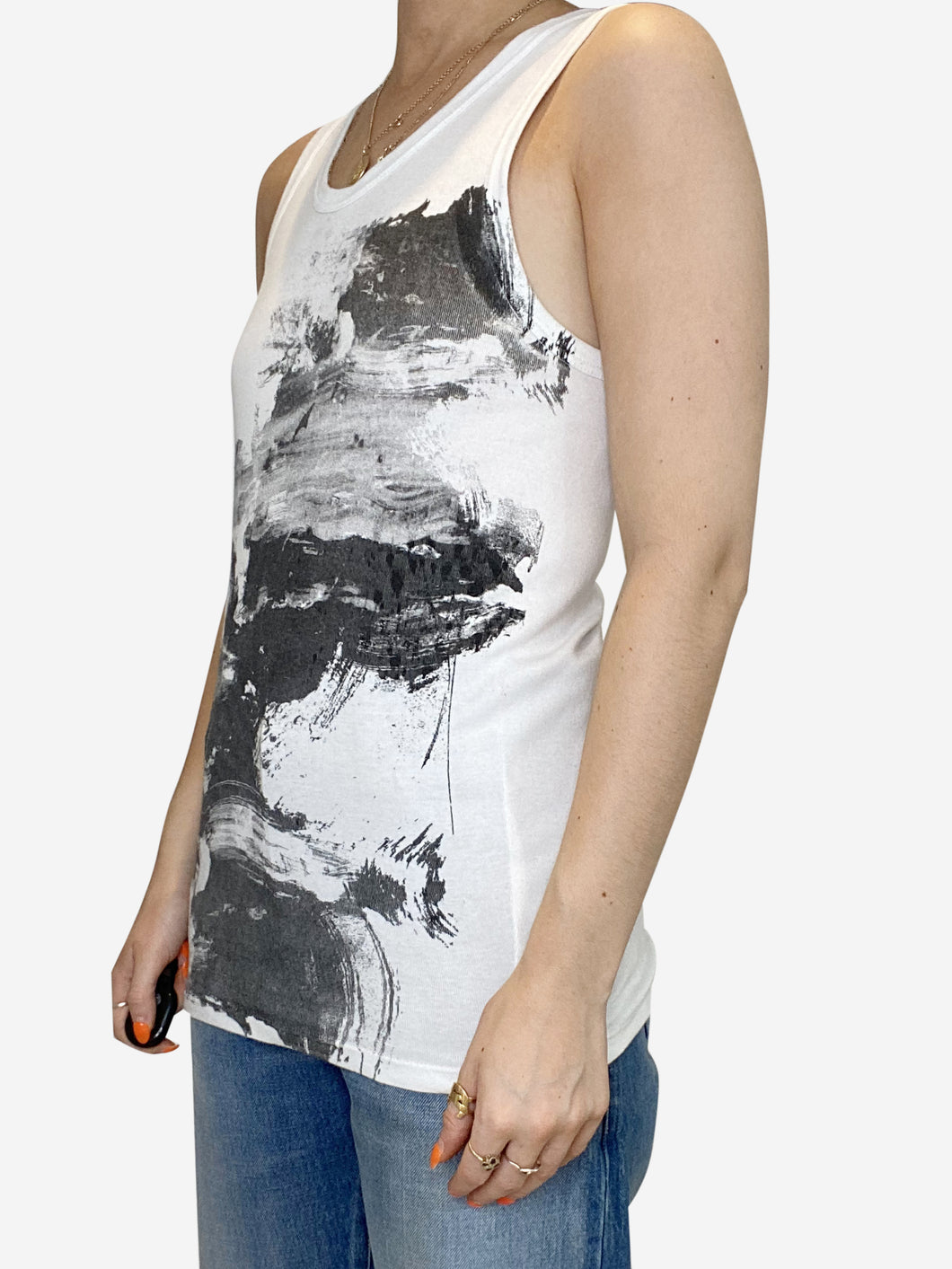 White abstract-print tank top - size M
