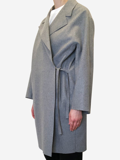 Grey coat with side tie - size FR 36