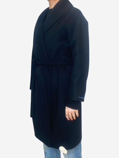 Black wool short wrap belted coat - size UK 10