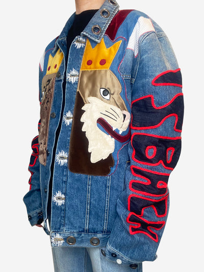 Blue animal denim jacket - size XXL