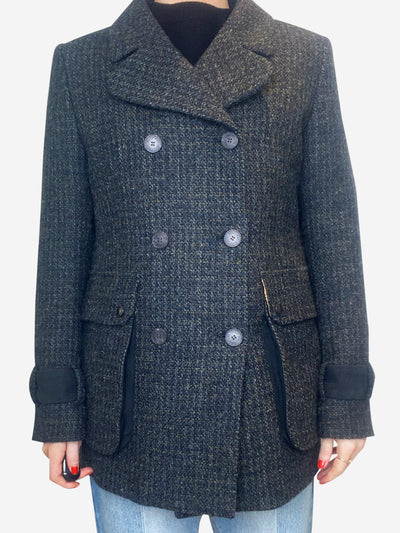 Dark grey and green tweed jacket - size UK 8