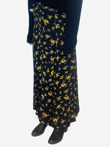 Black & yellow printed crepe midi skirt - size UK 6