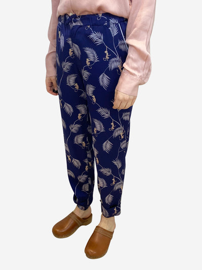 Blue silk monkey print trousers- size M