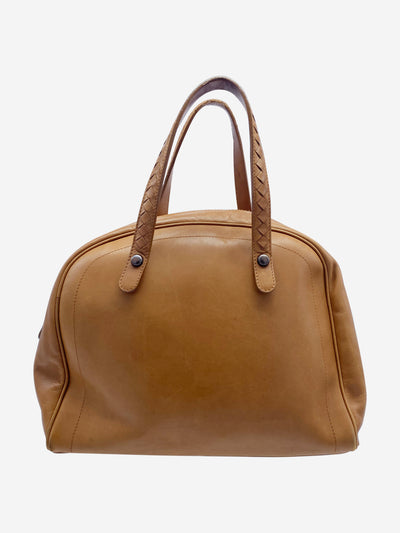 Light brown top handle leather bowling bag