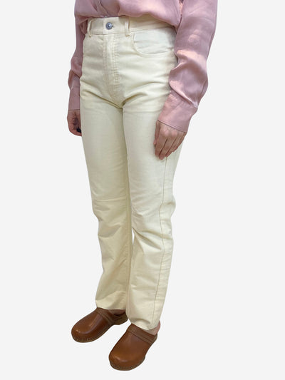 Cream soft finish trousers- size UK 8