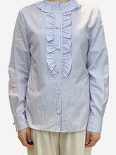 Load image into Gallery viewer, White and blue striped blouse with faux pearl buttons- size UK 10
