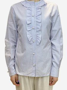 BlancKelly White and blue striped blouse with faux pearl buttons- size UK 10