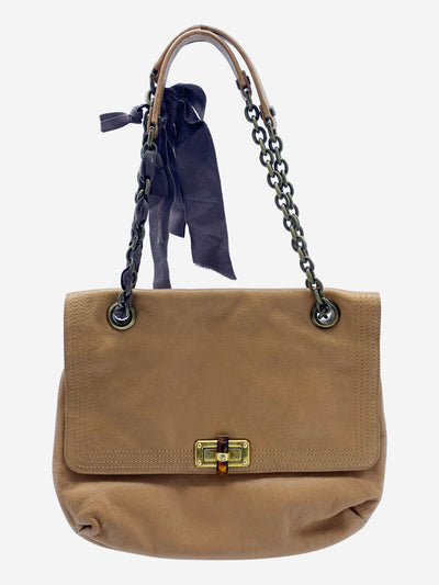 Happy beige leather crossbody bag