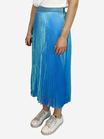 Blue glitter pleated lamé midi skirt - size 6