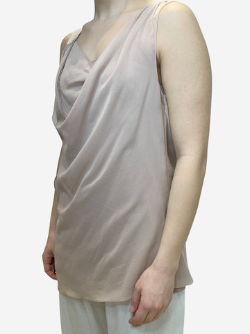 Dust pink sleeveless top with silver chain neckline detail- size M