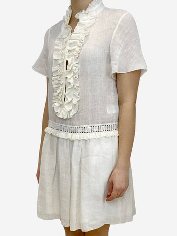 Milk coloured cotton linen short drop waist dress with frill detail- size UK 10