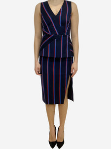 Altuzarra Navy and red striped top and skirt set- size UK 10