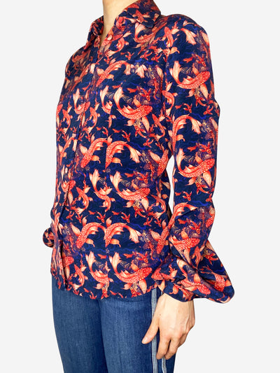 Blue & red koi fish print blouse - size S