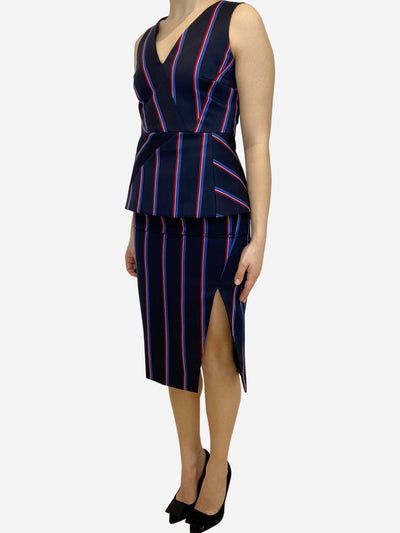Navy and red striped top and skirt set- size UK 10
