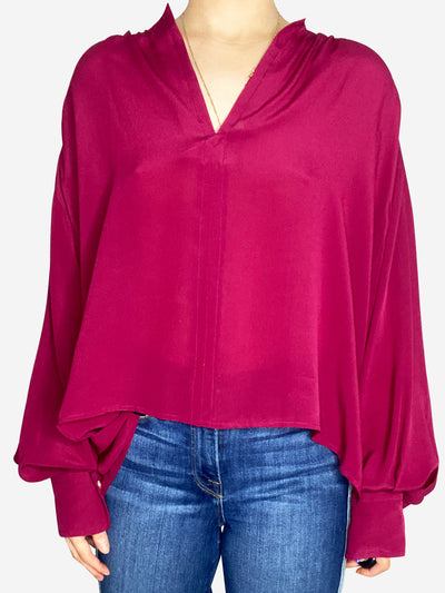 Dark pink loose sleeve blouse - size FR 40