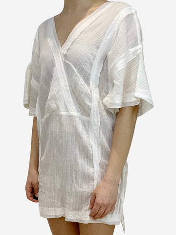 White sheer kaftan coverup- size S