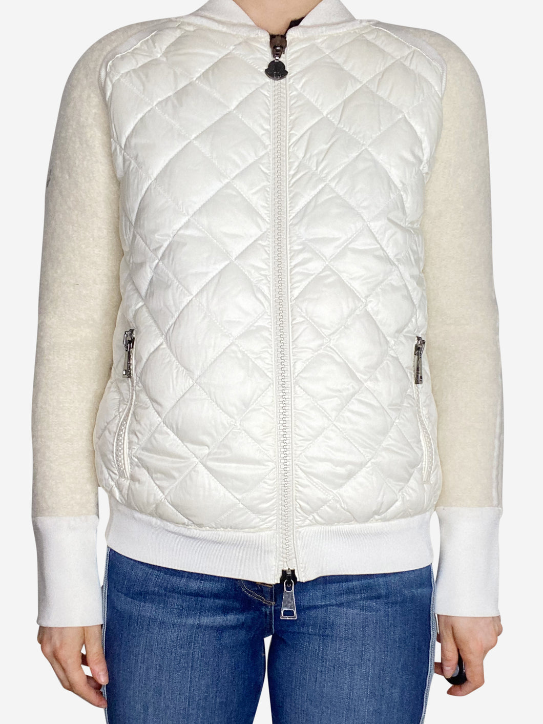 Cream zip up puffer & wool bomber jacket - size M