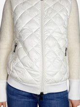 Load image into Gallery viewer, Cream zip up puffer & wool bomber jacket - size M
